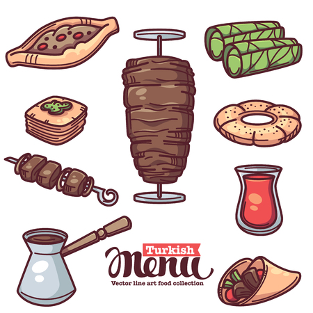 Traditional turkish food, line art objects collection for your menu Vettoriali