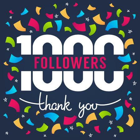 1000 followers, thank you banner vector illustration