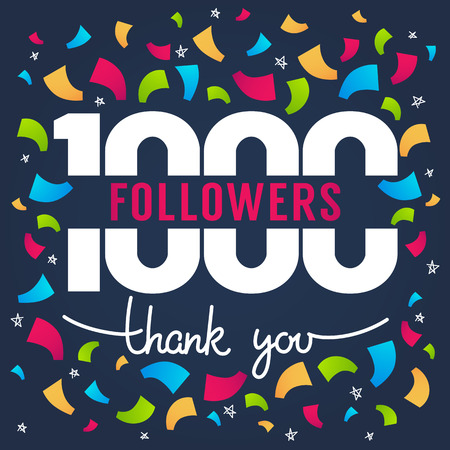 1000 followers, thank you banner vector illustration