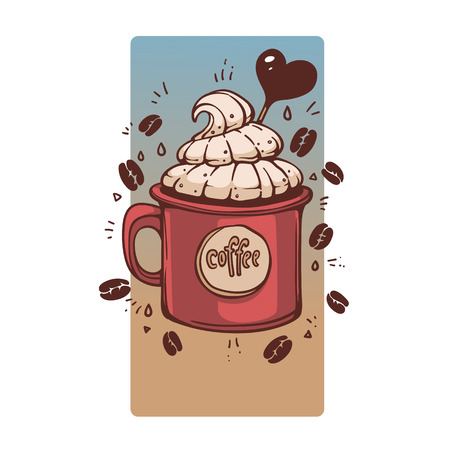 Sweet Coffee in retro style mug, vector hand drawn illustration