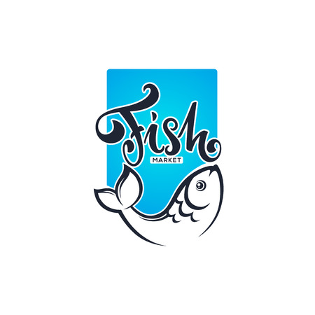 Fish market or shop logo with lettering comosition and carp image