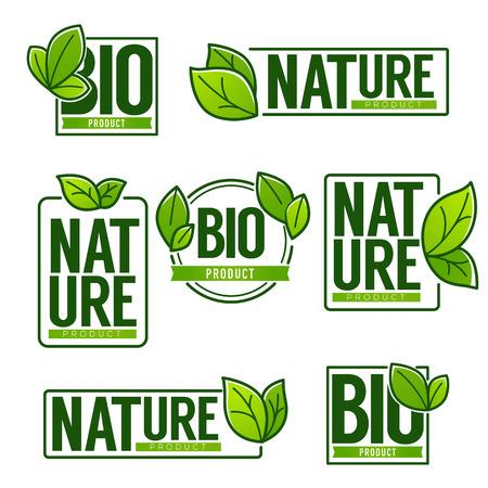 Nature and Bio Product, doodle organic leaves emblem logo vector illustration set