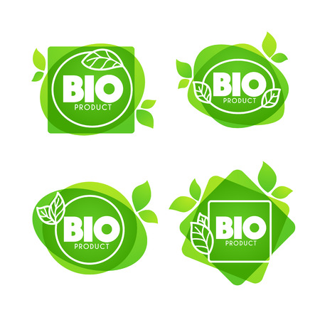 Bio Product with doodle organic leaves emblems, stickers and frames