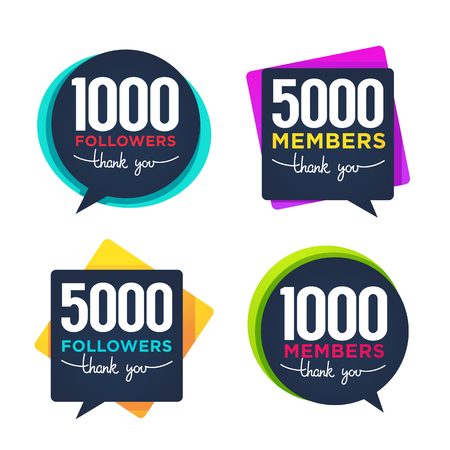 1000 followers and members thank you frames, bubbles and banners with lettering composition
