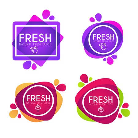 Vector collection of bright and shine stickers, emblems and banners for berry fresh juice