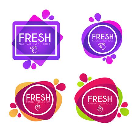 Collection de vecteur d'autocollants, emblèmes et bannières brillants et brillants pour le jus de fruits frais