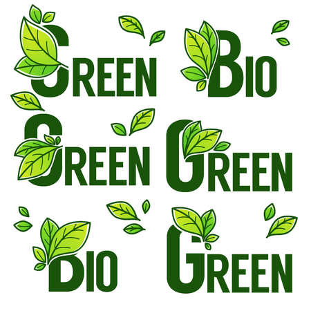 Green and Bio Product sticker and labels with doodle organic leaves Illustration