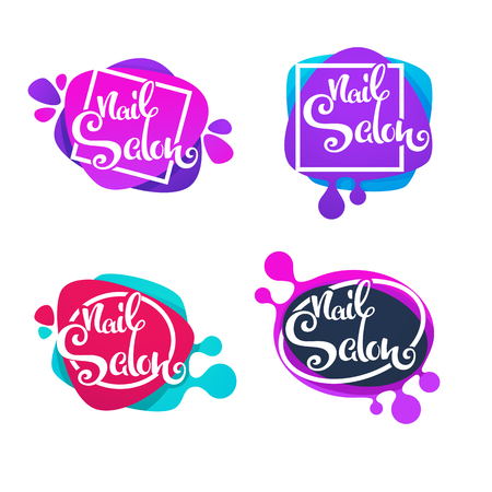 Label template for your Nail Studio and manicure salon with lettering composition Ilustrace