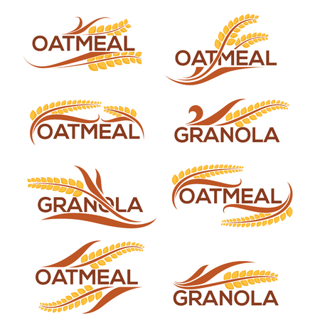 Oatmeal and granola label template with lettering composition and grain images Vectores