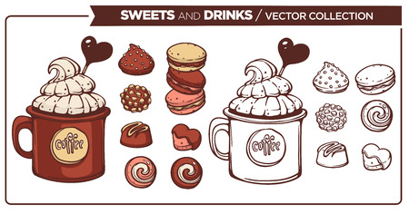 Sweets and Drinks vector collection