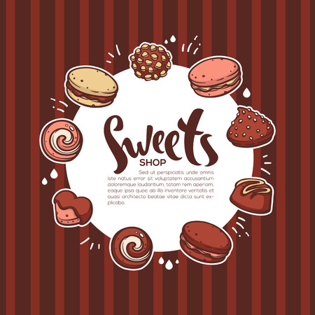 Vector background for your confectionery with lettering composition on striped background