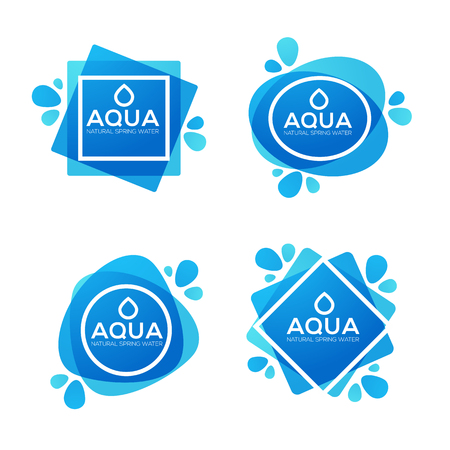 Natural spring water labels and stickers templates Иллюстрация
