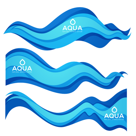 Paper Cut Spring Aqua Flow Vector Design Element For Your Modern Fresh Water Labels, Emblems and Flyers
