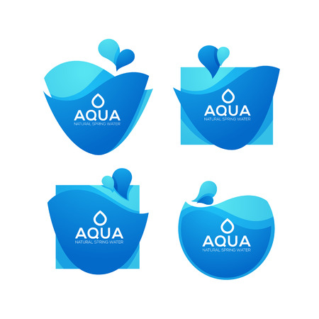 natural spring water, vector  logo, labels and stickers templates with aqua drops Иллюстрация