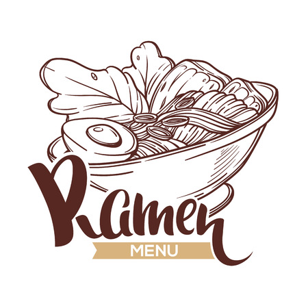Ramen Menu, vector logo template with bowl full of noodle sketch and lettering composition for your Japanese restaurant