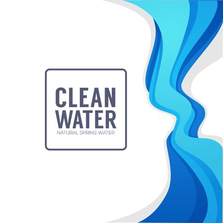 Paper Cut Spring Aqua Flow Vector Design Element.