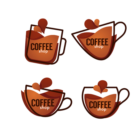 Coffee shop logo. Vector collection of hot and sweet drinks symbols and emblems Illustration