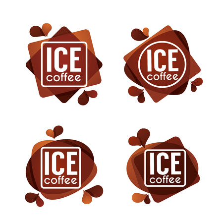 Ice Coffe, Vector Collection of Summer Drinks Labels, Stickers and Emblems