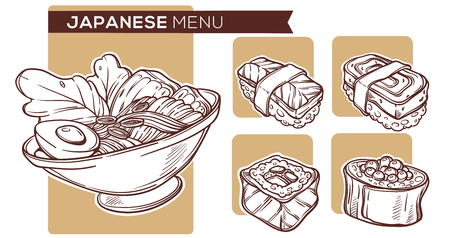 Japanese Food Hand Drawn Sketches,  For Your Noodle And Sushi Menu