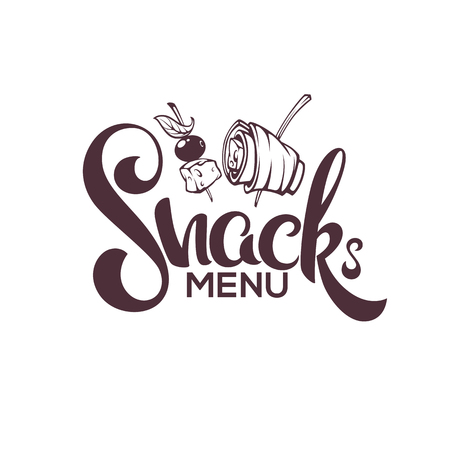 Snack Menu, Vector Image of Hand Drawn Appetizers and Lettering Composition For Your Restaurant Menu Illustration
