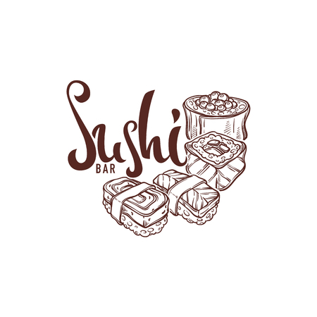 Sushi Hand Drawn Sketches,  For Your  Japanese Food Restaurant and Bar Logo, Label, Emblem