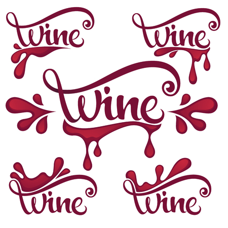 Young Wine,  Red Wine  Splashes Waves and Drops, Logo, Emblems, Labels