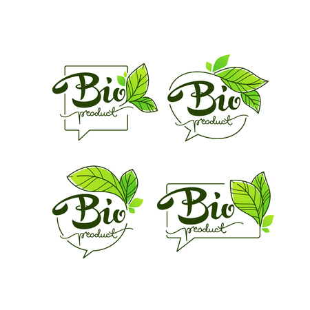 Bio Product, doodle organic leaves emblems, elements,  frames and logo