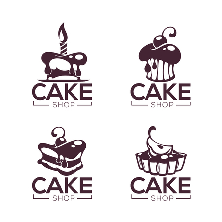 bakery, pastry, confectionery, cake, dessert, sweets shop, vector collection of logo, labels and emblems templates