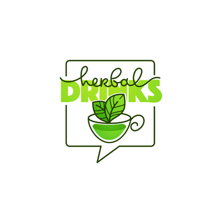 herbal drinks vector line art logo with handrawn lettering composition and cup of herbal tea Ilustração