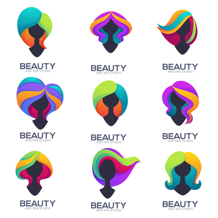 vector collection of woman head silhouettes with trandy ombre hair for your hairdresser and beauty salon logo, label, emblem