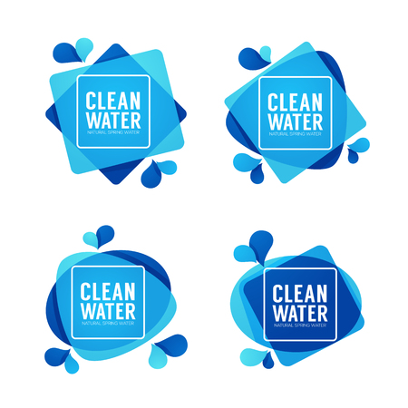 Natural spring water, vector icon, labels and stickers templates with aqua drops. Illustration