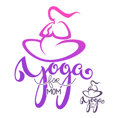 Yoga for mom, vector icon template with lettering composition and woman body.