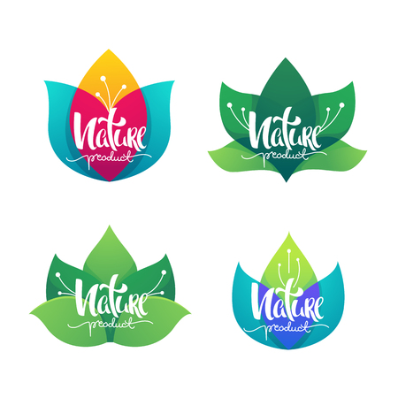 Nature Product, vector collection of simple flowers emblems  and logo with lettering composition