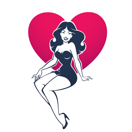 sexy and beauty retro pinup lady on heart shape background for your logo or label design Çizim