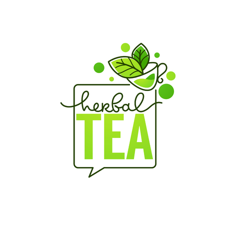 herbal drinks vector line art logo with handrawn lettering composition and cup of herbal tea Stock Illustratie