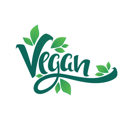 vegan, healthy and organic, green glossy leaves and lettering composition for your labels, logo, emblems design template