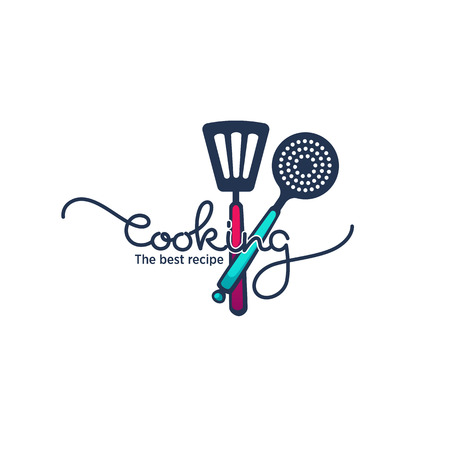 funny and glossy  cooking food and cooking logo, emblem and symbol with hand drawn lettering Illustration