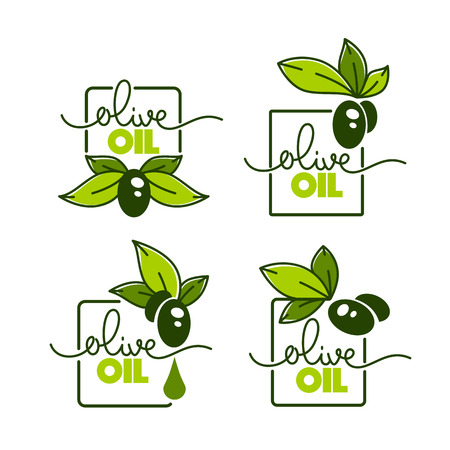green olive leaves, lettering compositions and oil splashes , vector collection of logo templates, doodle frames, labels, symbols