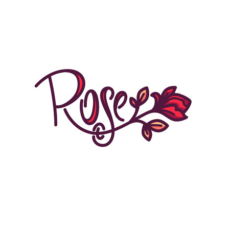 Simple line art doodle Rose Flower icon with lettering composition.