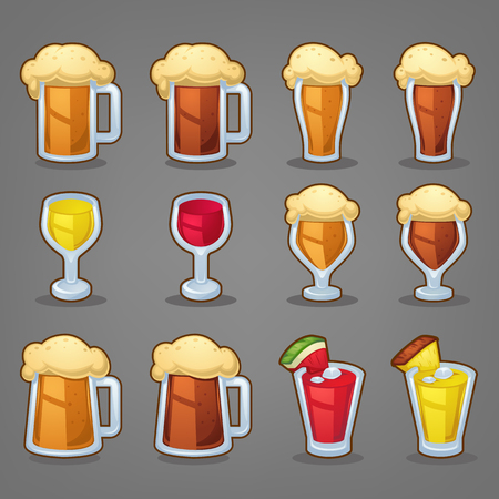 cartoon drinks, vector glossy icons ans objects for your app or menu