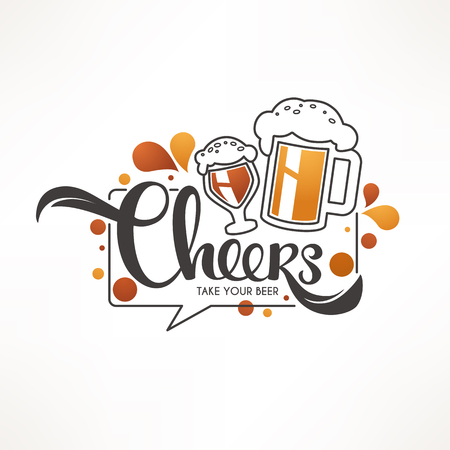 Cheers, vector illustration with draft beer mugs and lettering composition for your pub logo, label, menu, emblem, line art, doodle style Foto de archivo - 101129681