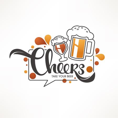 Saludos, ilustración vectorial con jarras de cerveza de barril y composición de letras para el logotipo de su pub, etiqueta, menú, emblema, arte lineal, estilo doodle