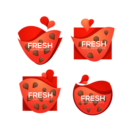 Fresh, vector collection of sweet and shine watermelon logo, banner, stickers and labels