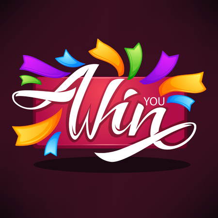 You win , vector congratulation banner template with lettering composition and bright ribbons