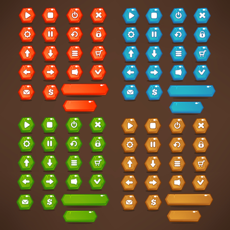 red, blue, green and brown, Mobile Game UI, vector collection of bright, shine and cartoon icons, and buttons