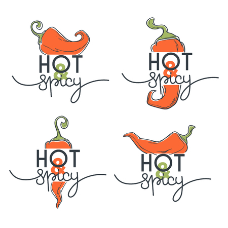Hot and spicy chili pepper sketchind logo, icons and emblems, with lettering composition
