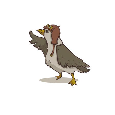 Brave seagull, cartoon steampunk bird illustration for your logo, label, emblem, mascot