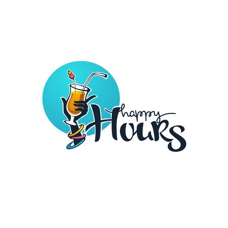 neem je zomerse drankje en geniet van ons happy hour! vector commerciële achtergrond