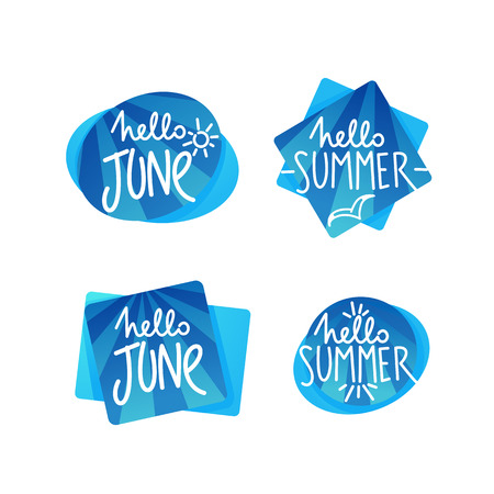 Hello Summer and Hello June, doodle handdrawn lettering composition on sea blue speech bubble shape for your logo