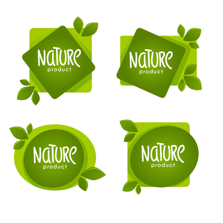 Nature  Product,  organic green  leaves emblems, stickers,  frames and logo